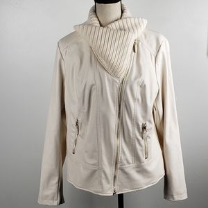 Chico's Faux Leather Knit Collar Moto Jacket 2 / L